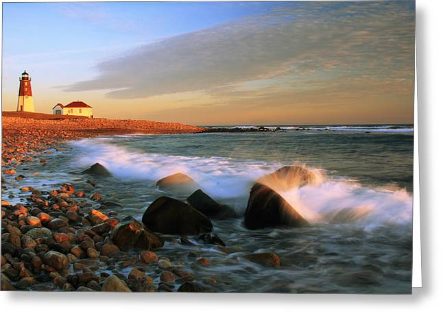 Point Judith Lighthouse Seascape Greeting Card by Roupen  Baker