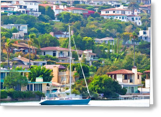 Point Loma Harbor Side Greeting Card by L J Oakes