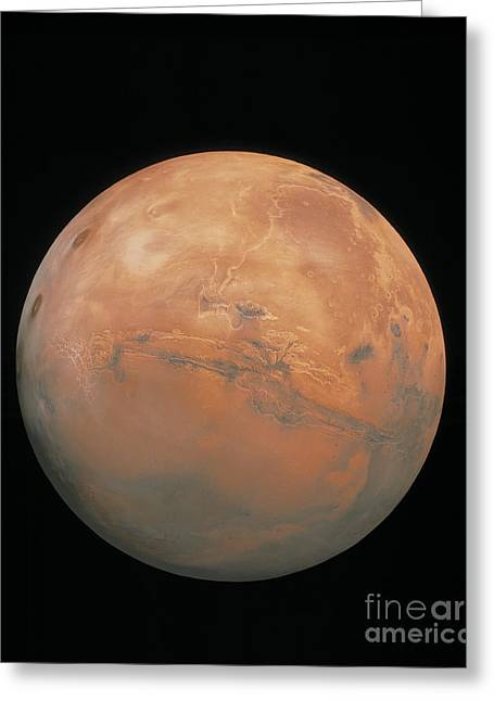 Planet Mars Greeting Cards - Point Perspective Viking Mosaic, Valles Greeting Card by U.S. Geological Survey
