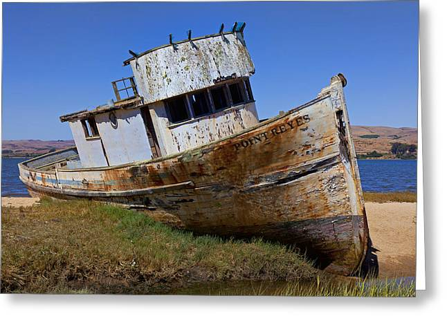 Ship-wreck Greeting Cards - Point Reyes beached boat Greeting Card by Garry Gay