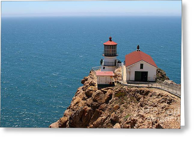 Pt Reyes Greeting Cards - Point Reyes Lighthouse in California 7D15994 Greeting Card by Wingsdomain Art and Photography