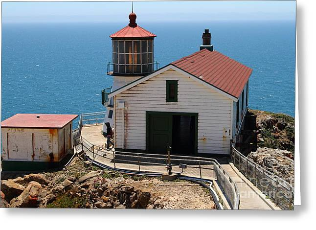 Pt Reyes Greeting Cards - Point Reyes Lighthouse in California 7D15997 Greeting Card by Wingsdomain Art and Photography