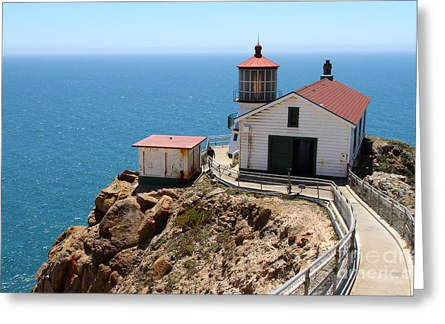 Pt Reyes Greeting Cards - Point Reyes Lighthouse in California 7D16001 Greeting Card by Wingsdomain Art and Photography