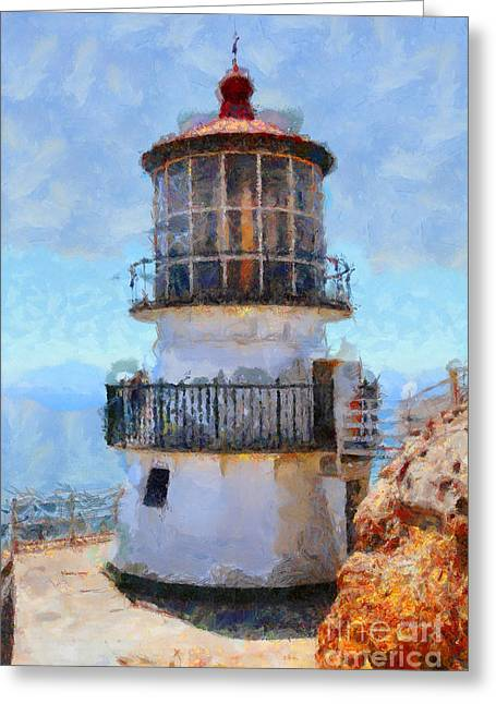 Pt Reyes Greeting Cards - Point Reyes Lighthouse in California . 7D16008 Greeting Card by Wingsdomain Art and Photography