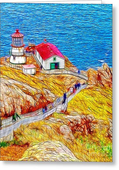 Point Reyes Lighthouse Greeting Card by Wingsdomain Art and Photography
