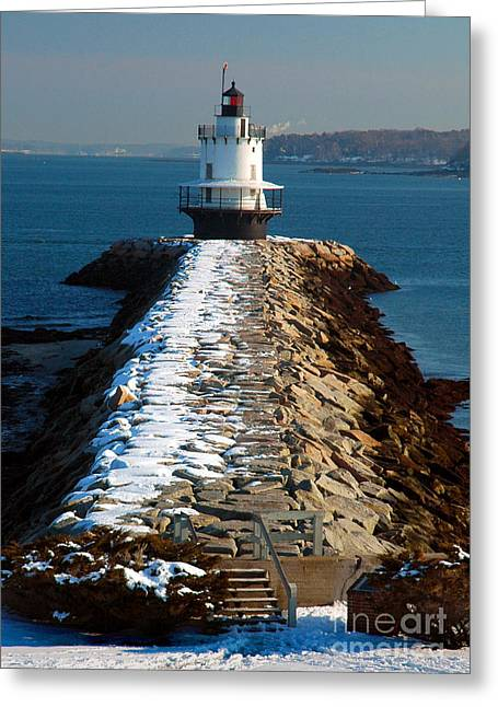 Ledge Greeting Cards - Point Spring Ledge Light - lighthouse seascape landscape rocky coast Maine Greeting Card by Jon Holiday