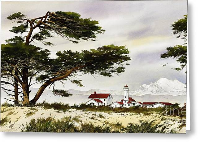 Maritime Framed Print Greeting Cards - Point Wilson Lighthouse Shore Greeting Card by James Williamson