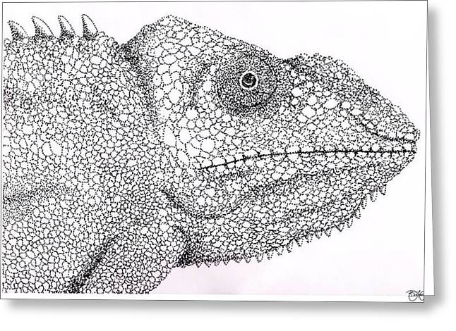 Pointillist Drawings Greeting Cards - Pointillist Chameleon  Greeting Card by Ben Leary