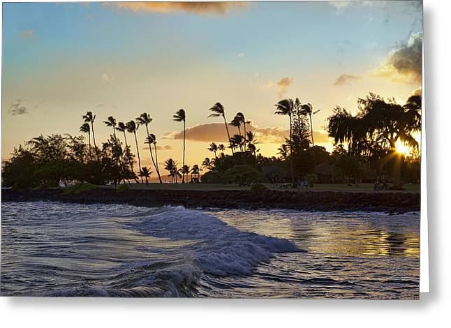 Poipu Greeting Cards - Poipu Sunset Greeting Card by Kelley King