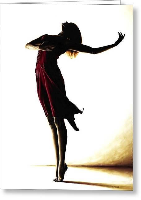 Red Dress Greeting Cards - Poise in Silhouette Greeting Card by Richard Young