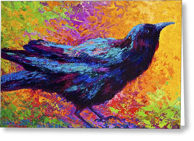 Crows Paintings Greeting Cards - Poised - Crow Greeting Card by Marion Rose
