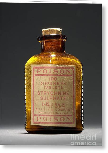Tablets Of Law Greeting Cards - Poison, Strychnine Sulphate, Circa 1910 Greeting Card by Science Source