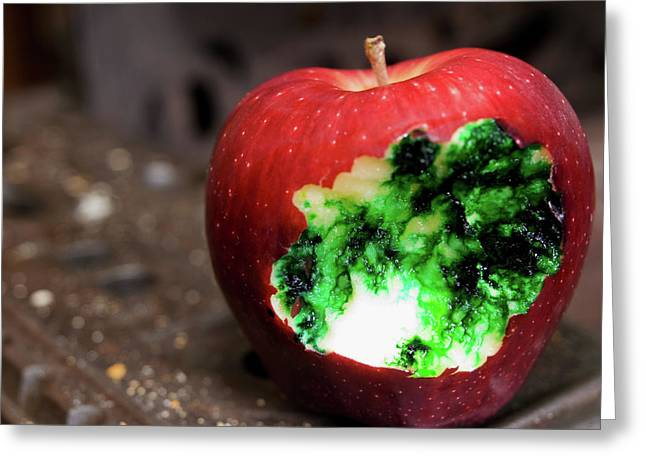 Devilish Greeting Cards - Poisoned Apple Greeting Card by Jim DeLillo