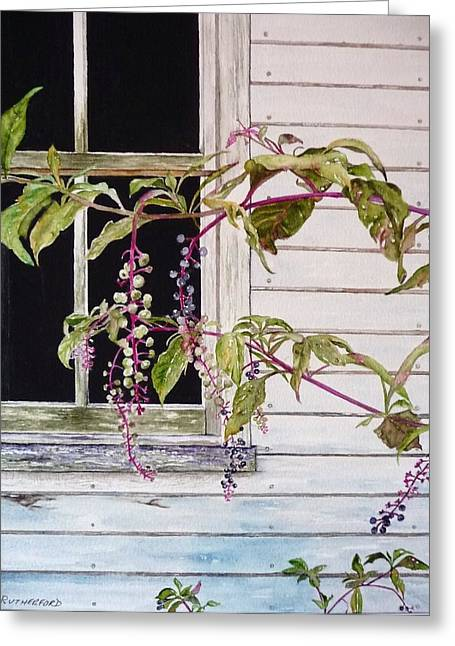 Clapboard House Paintings Greeting Cards - Pokeberries Greeting Card by Claudia Rutherford