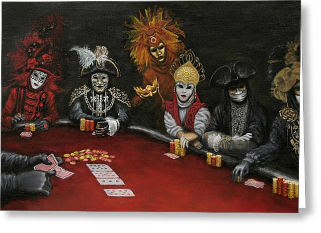 Jester Greeting Cards - Poker Face II Greeting Card by Jason Marsh