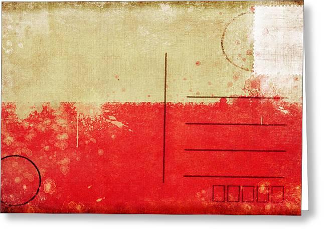 Euro 2012 Greeting Cards - Poland flag postcard Greeting Card by Setsiri Silapasuwanchai