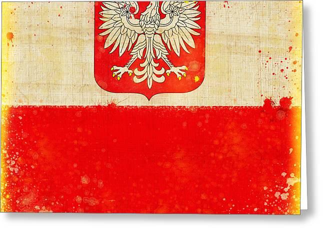 Abstract Map Pastels Greeting Cards - Poland flag Greeting Card by Setsiri Silapasuwanchai