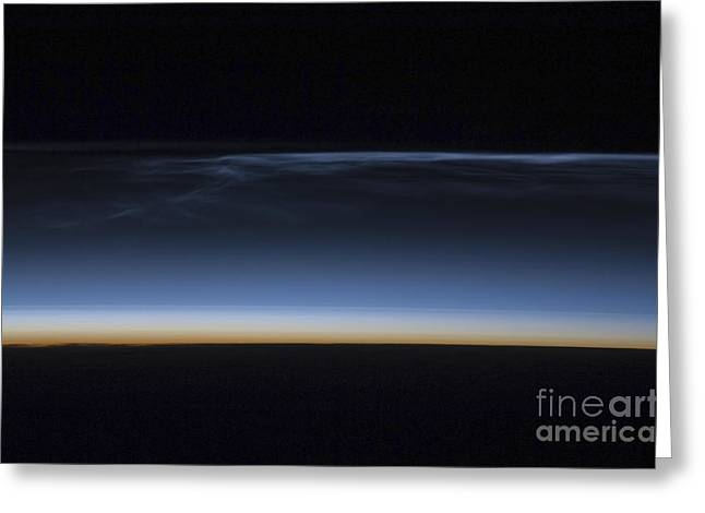 Transient Greeting Cards - Polar Mesospheric Clouds Greeting Card by Stocktrek Images