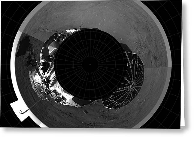 Analyzing Greeting Cards - Polar Projection Of Mars Greeting Card by Stocktrek Images