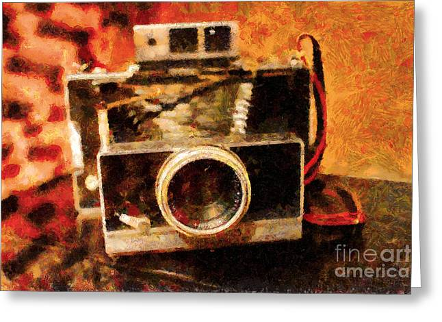 Reflex Digital Art Greeting Cards - Polaroid Land Camera Model 100 . Painterly . 7D13289 Greeting Card by Wingsdomain Art and Photography