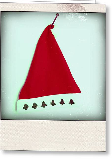 Christmastime Greeting Cards - Polaroid of a Christmas hat Greeting Card by Bernard Jaubert