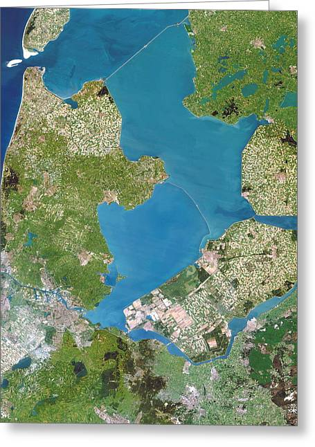 Land Reclamation Greeting Cards - Polders, Satellite Image Greeting Card by Planetobserver
