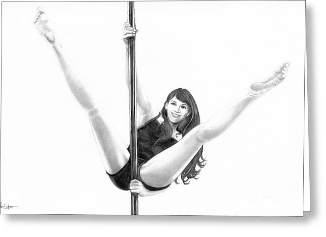 Pole Drawings Greeting Cards - Pole Dancer Greeting Card by Murphy Elliott