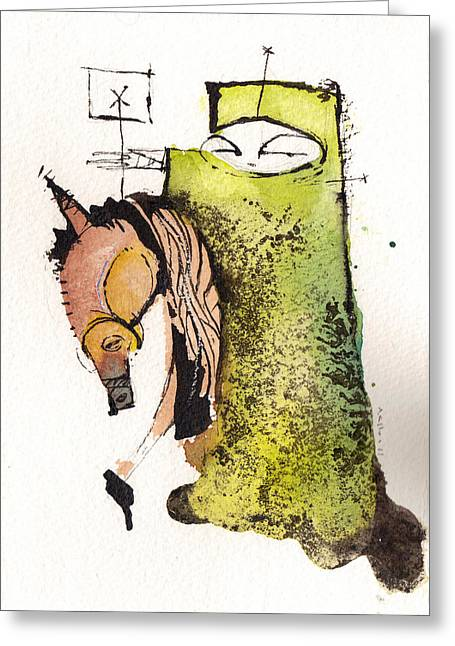Knighting Mixed Media Greeting Cards - Polemos 4  Greeting Card by Mark M  Mellon