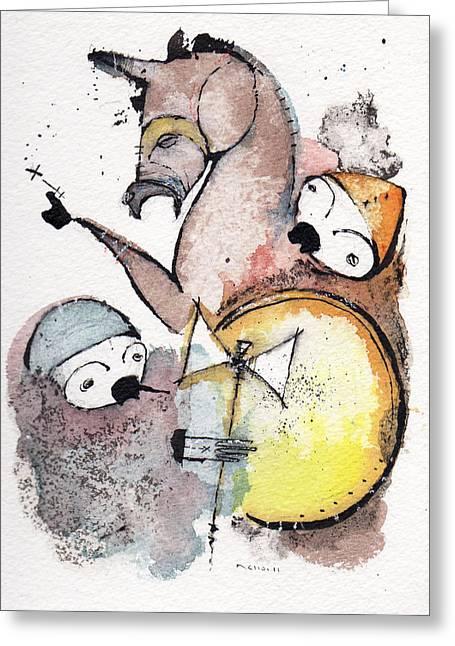 Knighted Mixed Media Greeting Cards - Polemos 9 Greeting Card by Mark M  Mellon