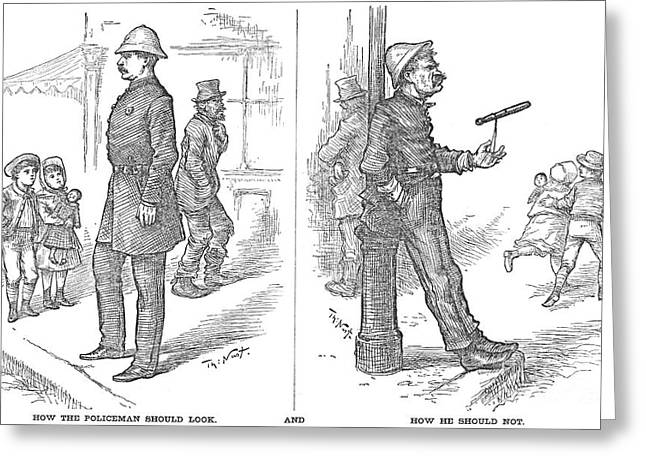Police Cartoon Greeting Cards - Police Corruption, 1882 Greeting Card by Granger