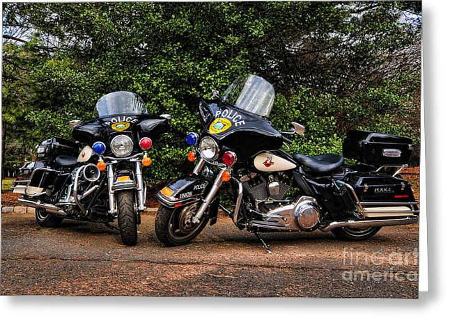 Police Traffic Control Photographs Greeting Cards - Police Motorcycles Greeting Card by Paul Ward