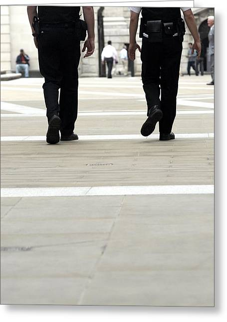 Police Officers Patrolling Greeting Card by Tony Mcconnell