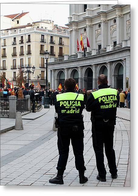 Political Rally Greeting Cards - Policia Madrid Greeting Card by Lorraine Devon Wilke