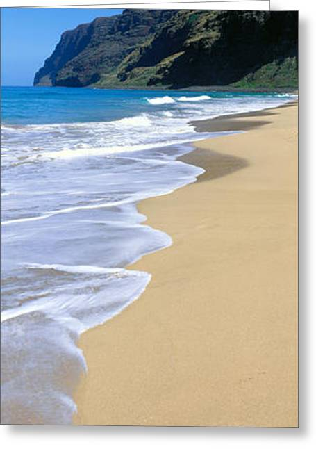 Sand Art Greeting Cards - Polihale Beach Panorama Greeting Card by Bill Schildge - Printscapes