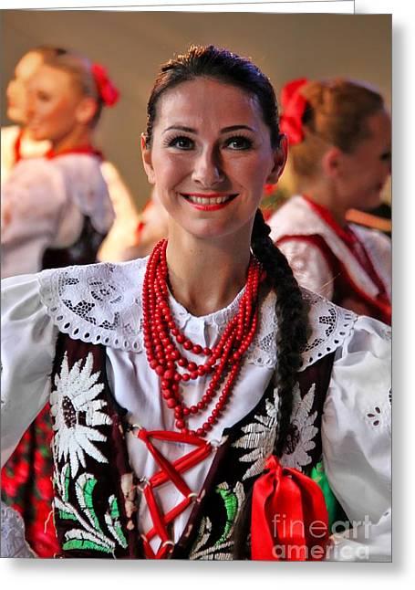Dancing Girl Greeting Cards - Polish Folk Dancing Girl Greeting Card by Mariola Bitner