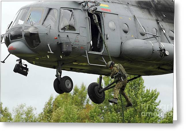 Fast Rope Greeting Cards - Polish Special Forces Member Fast-ropes Greeting Card by Stocktrek Images