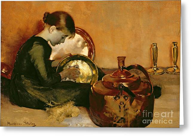 Signature Photographs Greeting Cards - Polishing Pans  Greeting Card by Marianne Stokes