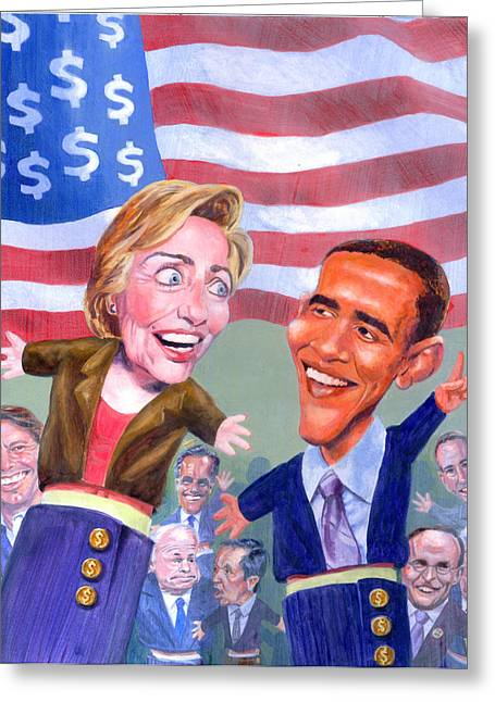 Presidential Race Greeting Cards - Political Puppets Greeting Card by Ken Meyer jr