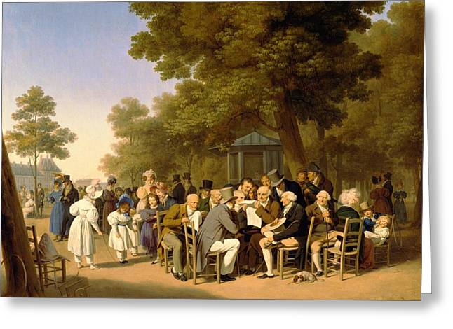 Debating Greeting Cards - Politicians in the Tuileries Gardens Greeting Card by Louis Leopold Boilly
