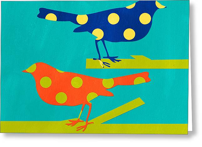 Blue Bird Greeting Cards - Polka Dot Birds Greeting Card by Linda Woods