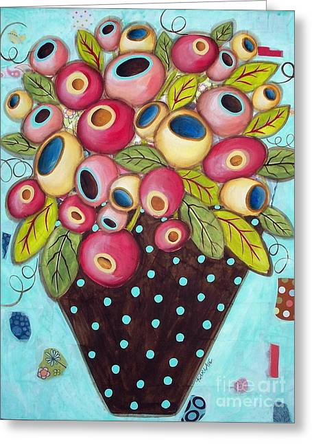 Flower Still Life Mixed Media Greeting Cards - Polka Dot Pot Greeting Card by Karla Gerard