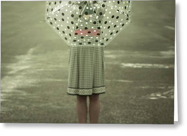 polka dotted umbrella Greeting Card by Joana Kruse