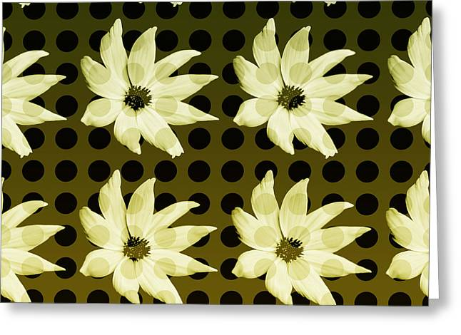 Olive Green Greeting Cards - Polkadotted Daisies No.1 Greeting Card by Bonnie Bruno