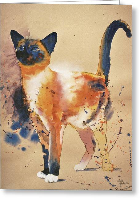 Print On Canvas Greeting Cards - Pollocks Cat Greeting Card by Eve Riser Roberts