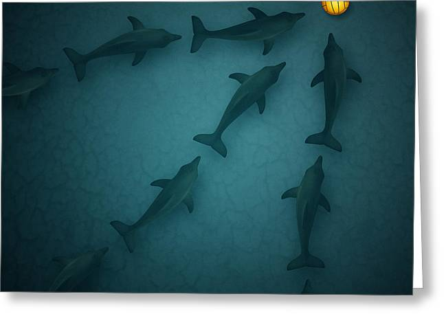 Dolphins Digital Art Greeting Cards - Polo Dolphins Greeting Card by Michael  Murray