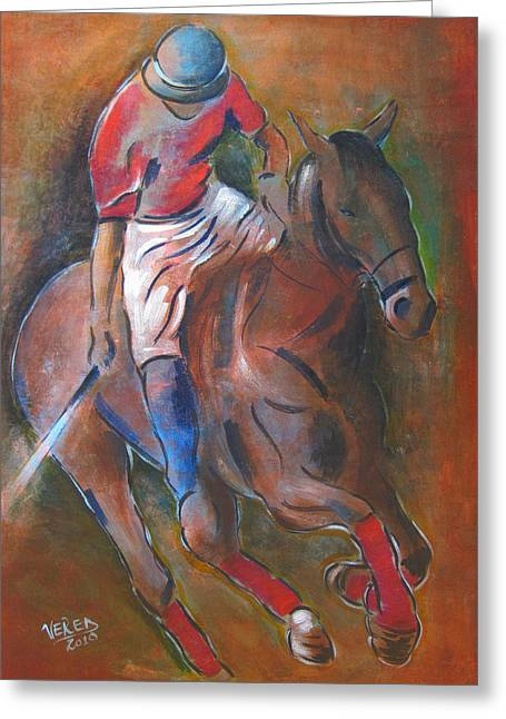 Temperament Mixed Media Greeting Cards - Polo player Greeting Card by Vered Thalmeier