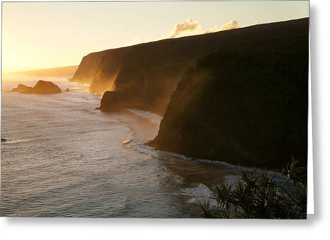Niu Greeting Cards - Pololu and Honokane Niu Valleys Sunset II Greeting Card by Peter French