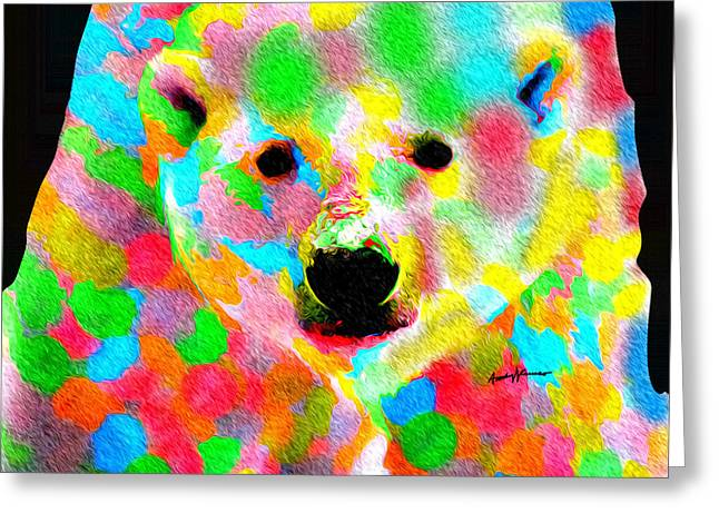 Chromatic Digital Greeting Cards - Polychromatic Polar Bear Greeting Card by Anthony Caruso