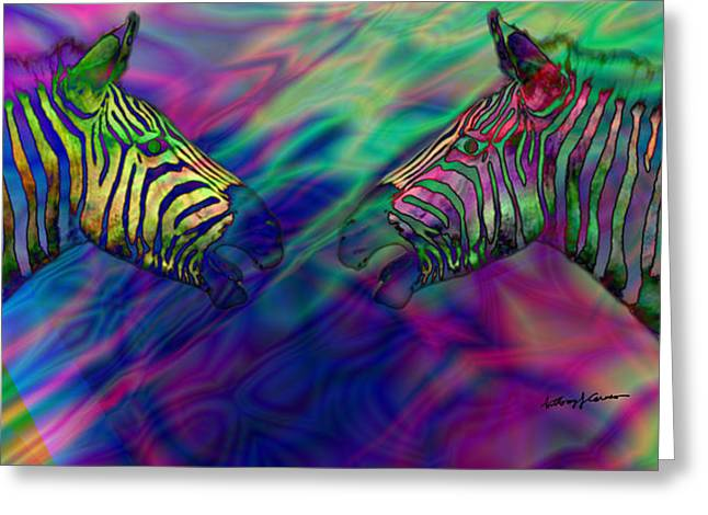 Polychromatic Zebras Greeting Card by Anthony Caruso