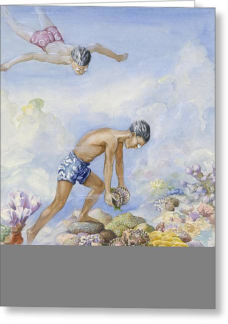 Underwater Scenes Greeting Cards - Polynesian Swimmers Dive To Pluck Pearl Greeting Card by Else Bostelmann